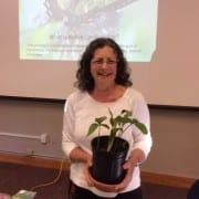 Karen Asher showing off Jack in  the Pulpit