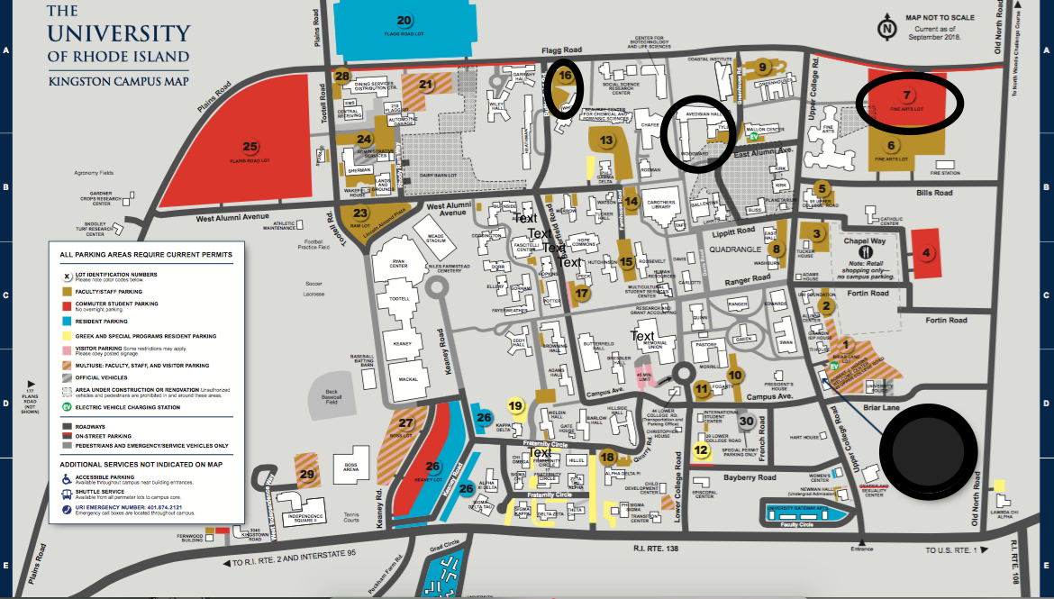 uri map of campus Uri Campus Parking Showing Pharmacy Building And Parking Areas uri map of campus